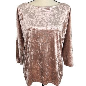 Spense Crushed Velvet Cold Shoulder Hi Low Blouse